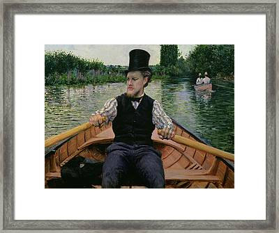 Rower In A Top Hat Framed Print by Gustave Caillebotte