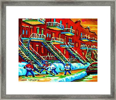 Rowhouses And Hockey Framed Print by Carole Spandau