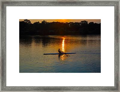 Rowing At Sunset 2 Framed Print by Bill Cannon