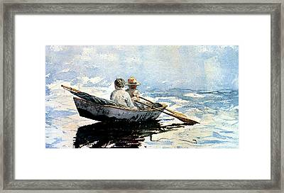 Rowing The Boat Framed Print by Winslow Homer