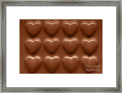 Rows Of Chocolate Hearts  Framed Print by Richard Thomas