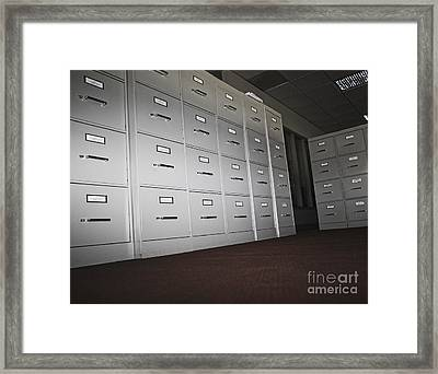 Rows Of Filing Cabinets Framed Print by Jetta Productions, Inc