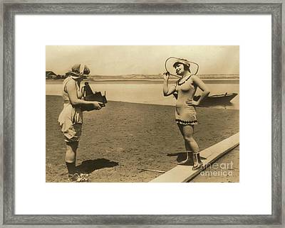 Roxy Mcgowan And Mary Thurman In Bathing Suits Framed Print by Padre Art