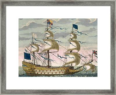 Royal Flagship Of The English Fleet Framed Print by Pierre Mortier