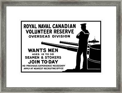 Royal Naval Canadian Volunteer Reserve Framed Print by War Is Hell Store