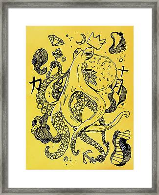 Royal Octopus Canary Yellow Framed Print by Kenal Louis