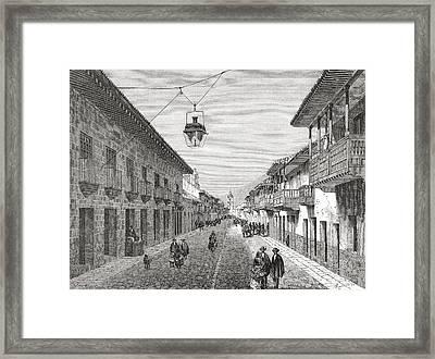 Royal Street, Bogota,columbia, South Framed Print by Vintage Design Pics