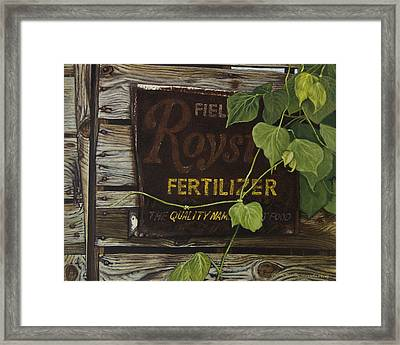 Royston Fertilizer Sign Framed Print by Peter Muzyka