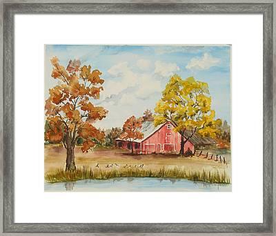 Rt 66 Barn In Bristow Oklahoma Framed Print by Judy Loper