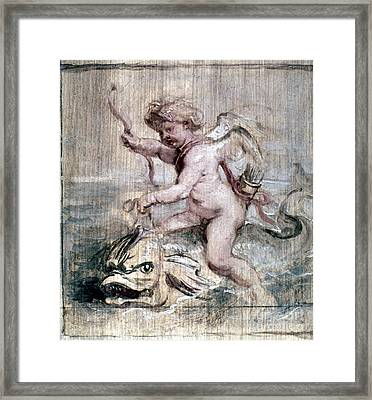 Rubens: Cupid On Dolphin Framed Print by Granger