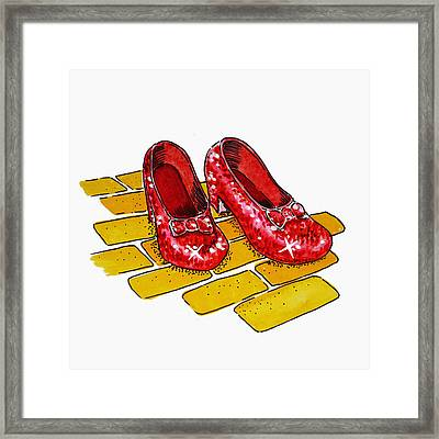 Ruby Slippers The Wizard Of Oz  Framed Print by Irina Sztukowski