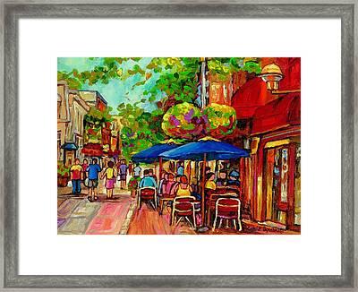 Rue Prince Arthur Montreal Framed Print by Carole Spandau