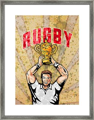 Rugby Player Raising Championship World Cup Trophy Framed Print by Aloysius Patrimonio