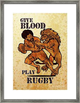 Rugby Player Running With Ball Attack By Lion Framed Print by Aloysius Patrimonio