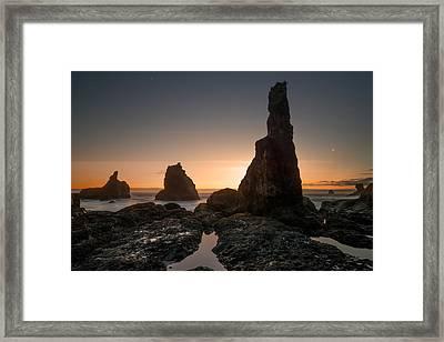 Rugged Coast Evening Framed Print by Leland D Howard