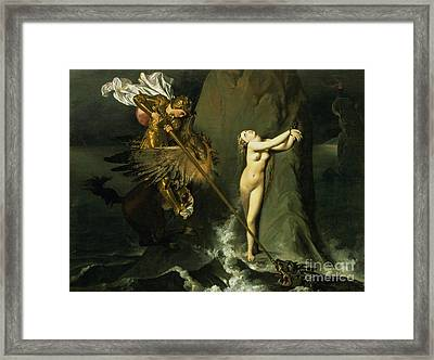 Ruggiero Rescuing Angelica Framed Print by Ingres