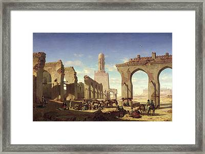 Ruins Of The Mosque Of The Caliph El Haken In Cairo Framed Print by Prosper Georges Antoine Marilhat