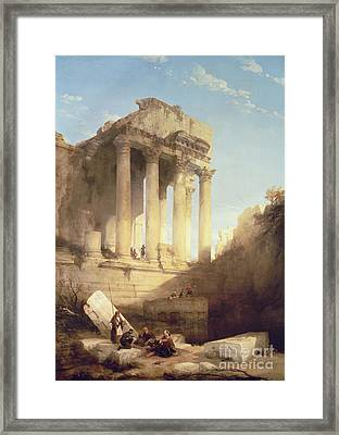 Ruins Of The Temple Of Bacchus Framed Print by David Roberts