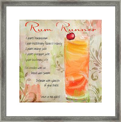 Rum Runner Mixed Cocktail Recipe Sign Framed Print by Mindy Sommers