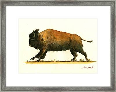 Running American Buffalo Framed Print by Juan  Bosco