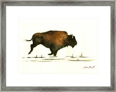 Running Buffalo Framed Print by Juan  Bosco