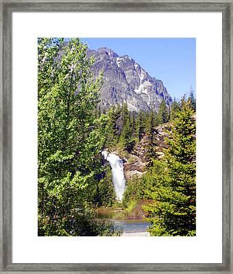 Running Eagle Falls Glacier National Park Framed Print by Marty Koch