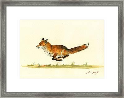 Running Red Fox Framed Print by Juan  Bosco