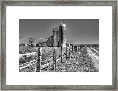 Rural America 2 Barn And Silos Tennessee Framed Print by Reid Callaway