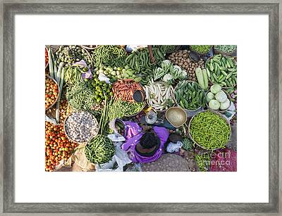 Rural Indian Vegetable Market Framed Print by Tim Gainey