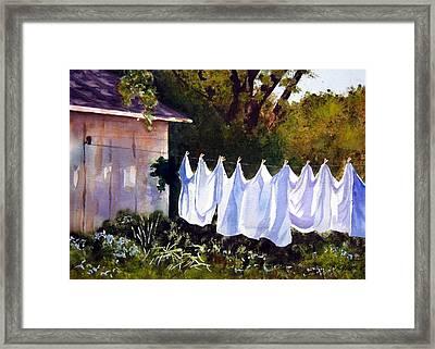 Rural Laundromat Framed Print by Marsha Elliott
