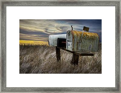 Rural Mailboxes On The Prairie Framed Print by Randall Nyhof