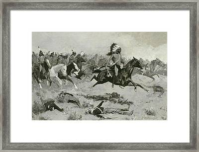 Rushing Red Lodges Passed Through The Line Framed Print by Frederic Remington