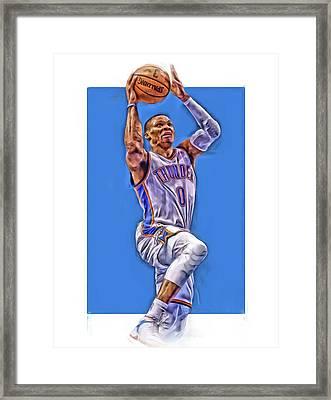 Russell Westbrook Oklahoma City Thunder Oil Art Framed Print by Joe Hamilton
