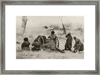 Russian Artillery In Action On The Framed Print by Vintage Design Pics