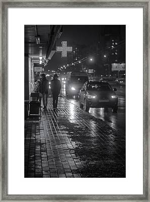 Russian Street Scene At Night 2015 Framed Print by John Williams