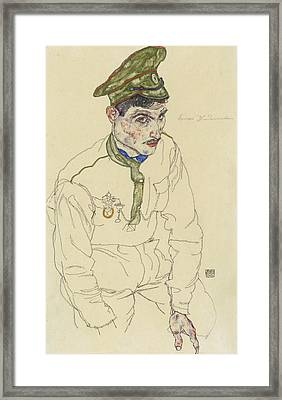 Russian War Prisoner Framed Print by Egon Schiele