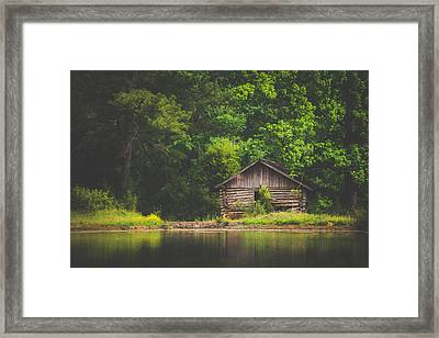 Rustic Cabin By The Pond Framed Print by Shelby Young