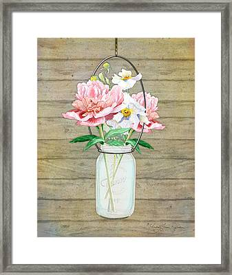 Rustic Country Peony N Poppy Mason Jar Bouquet On Wooden Fence Framed Print by Audrey Jeanne Roberts