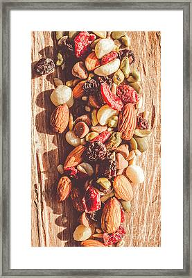 Rustic Dried Fruit And Nut Mix Framed Print by Jorgo Photography - Wall Art Gallery