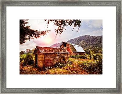 Rustic Evening Framed Print by Debra and Dave Vanderlaan