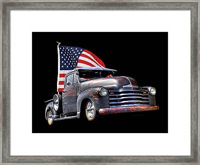 Rusty 1951 Chevy Truck With Us Flag Framed Print by Gill Billington