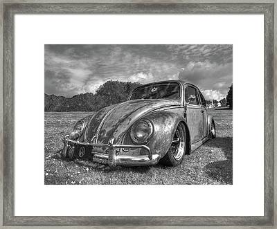Rusty Bug - Vw Beetle In Black And White Framed Print by Gill Billington