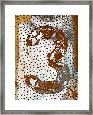 Rusty Metal Number Three Framed Print by Carol Leigh