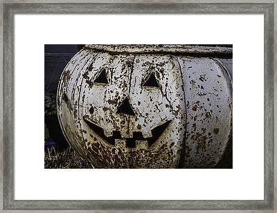 Rusty Metal Pumpkin Framed Print by Garry Gay