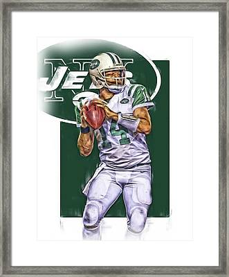 Ryan Fitzpatrick New York Jets Oil Art Framed Print by Joe Hamilton