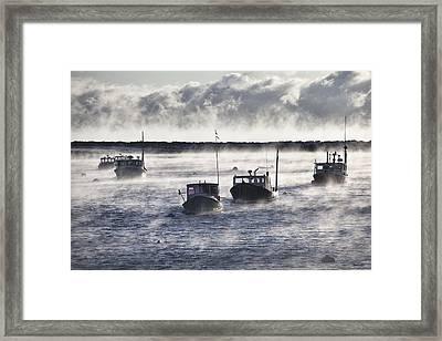 Rye Harbor Seasmoke Framed Print by Eric Gendron