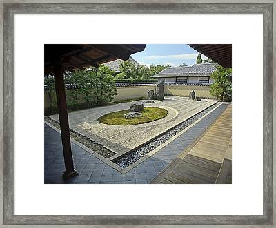 Ryogen-in Zen Rock Garden - Kyoto Japan Framed Print by Daniel Hagerman