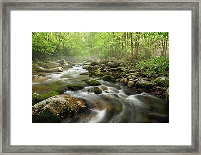 S Curve In The Smokies Framed Print by Jon Glaser