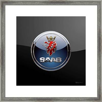 Saab - 3d Badge On Black Framed Print by Serge Averbukh