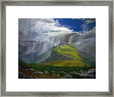 Sabino Canyon Storm Framed Print by Jerry Bokowski